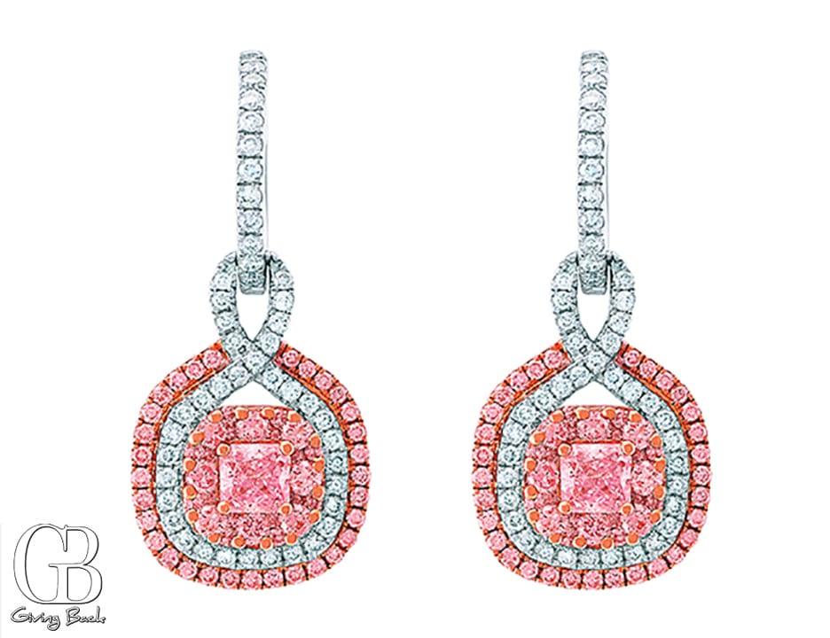 kt Pink Cushion Diamond Earrings