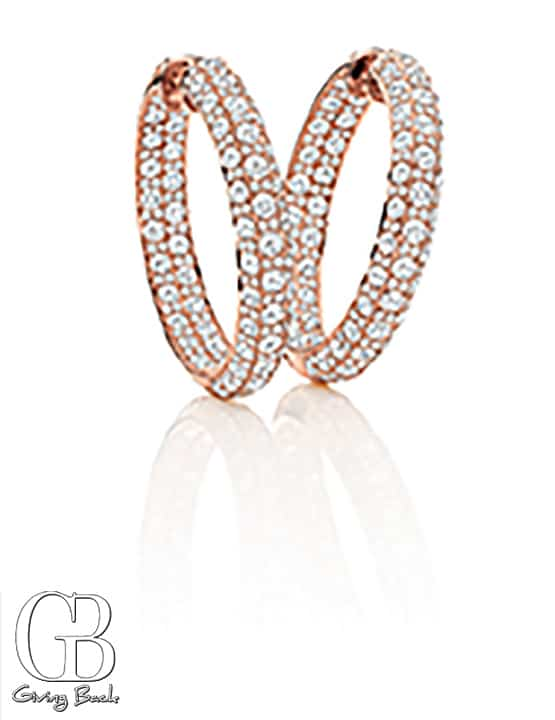 kt Rose Gold Diamond Hoops