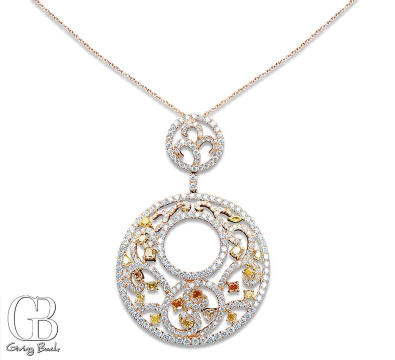 . ctw Round Multicolor Diamond Pendant