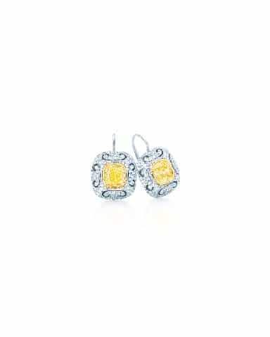 Art Deco inspired yellow diamond scroll earrings