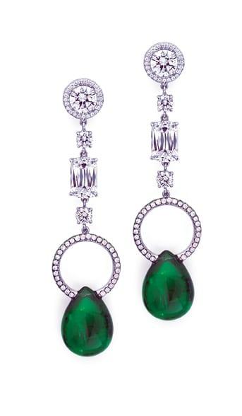 Ashoka Diamond and Pear Shaped Emerald Drops