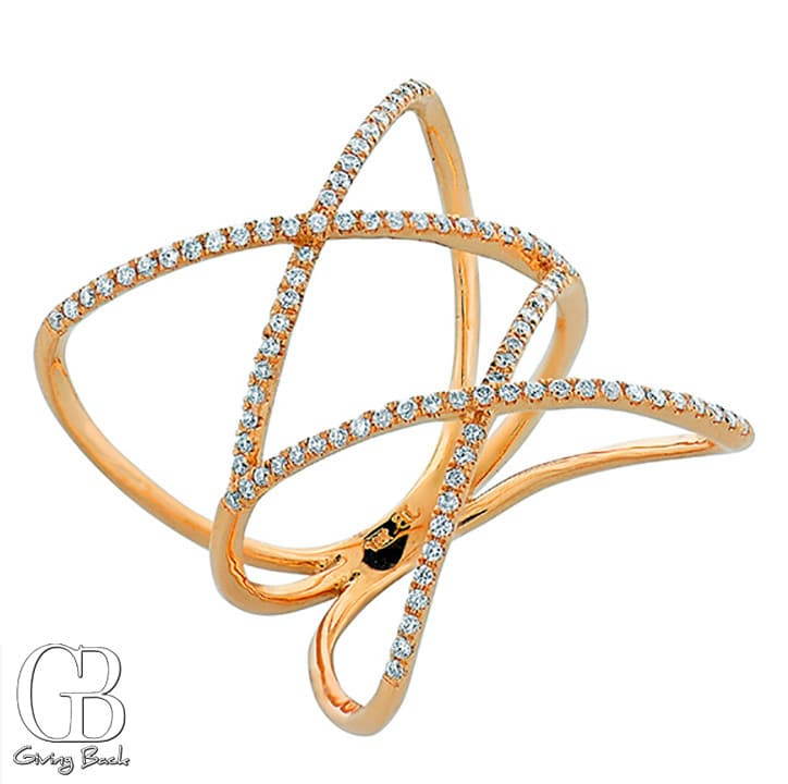 Bony Levy Diamond Double Crisscross Ring
