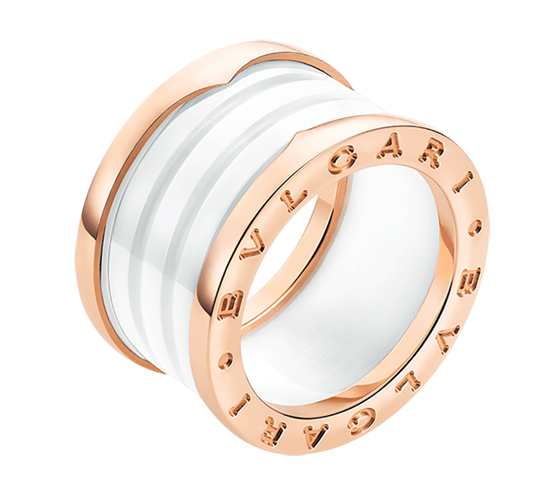 Bulgari B.zero k Pink Gold   White Ceramic Ring .png