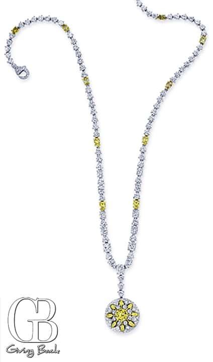 CJ Charles Riviera Yellow Diamond Sunburst Necklace