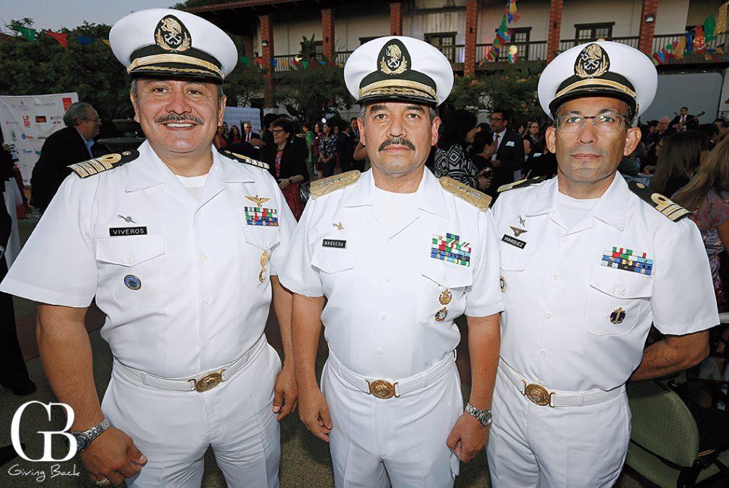 Capitan Navio Victor Manuel Riveros Colorado  Vice Almirante Mario Marqueda Mendoza and Capitan de Fragata Luis Mario Marquez Garcia