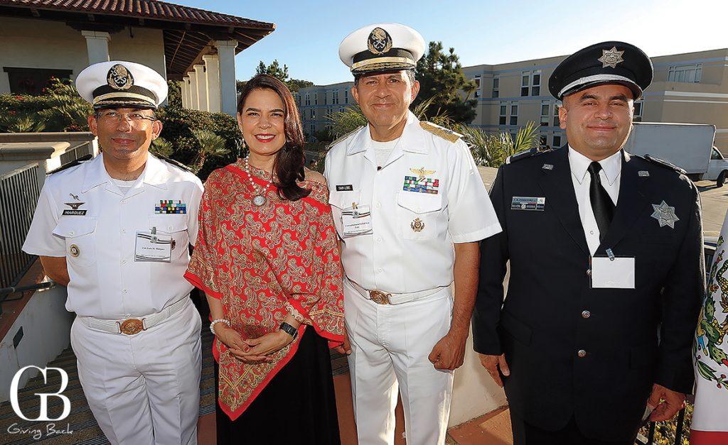 Capitan de Fragata Luis Mario Marquez Garcia  Consul General Marcela Celorio  Almirante Rafael San Luis and Sub Oficial Victor Manuel Dominguez Lemos