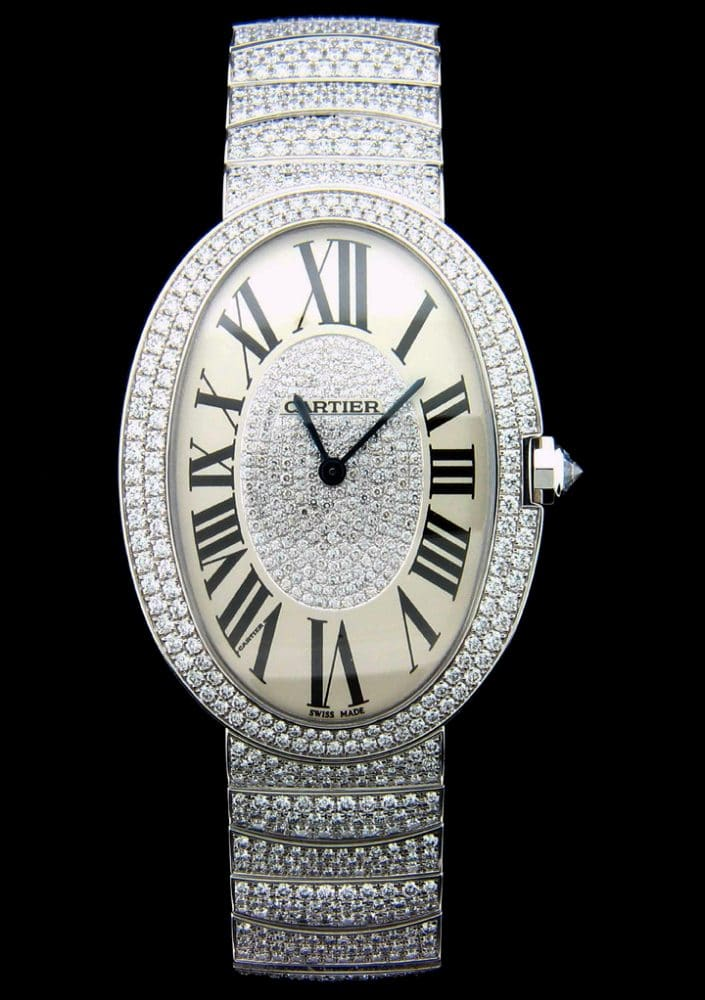 Cartier Baignoire Large Model in k white gold with diamonds