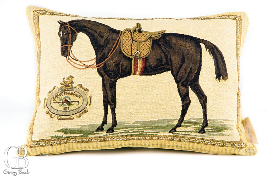Custom horse embroidered pillow  one of a large collection
