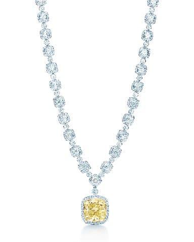 Diamond necklace with fancy vivid . carat yellow diamond