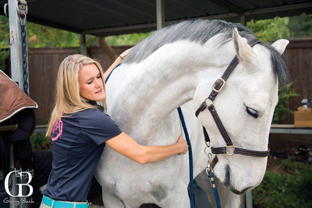Dr. Bek doing a neck adjustment of horse