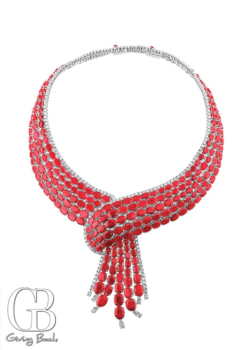 Estate ctw Ruby Diamond Cravat Necklace