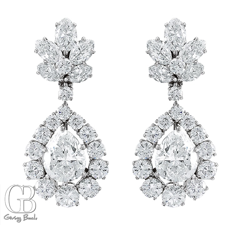 Estate .ctw Bvlgari Pear Earrings