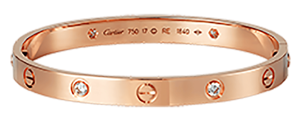 Estate Cartier kt Pink Gold  Love Bracelet with  Diamonds .png
