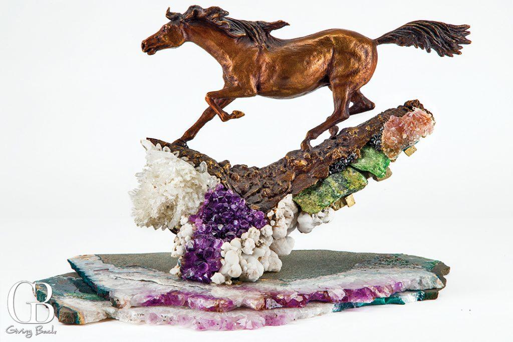 Exquisite bronze sculpture horse accented with semi precious stones
