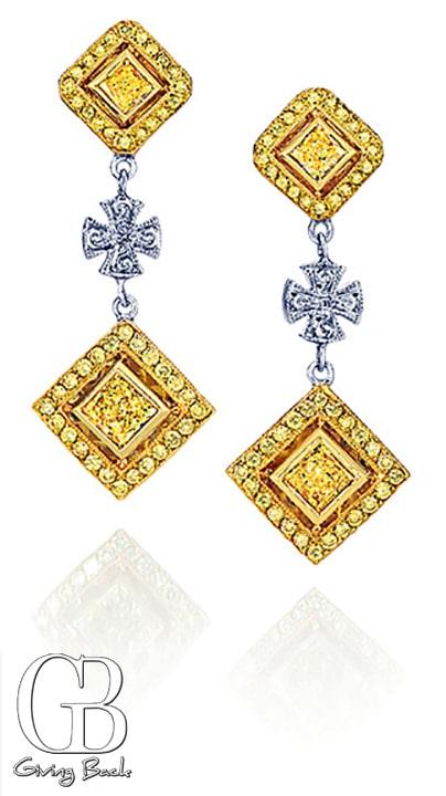 Fancy Yellow Diamond Maltese Cross Earrings