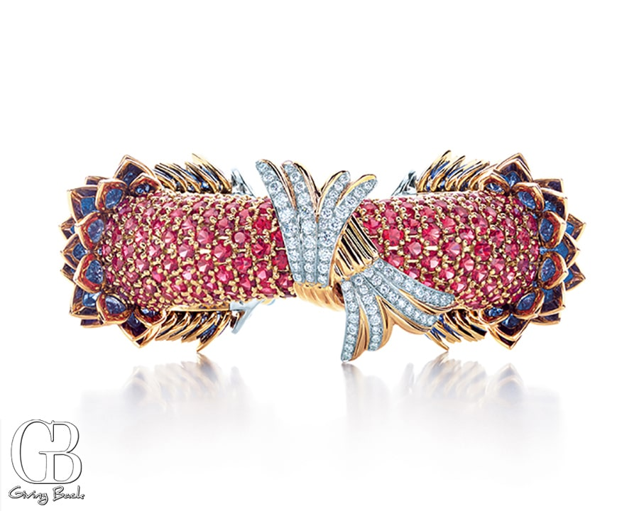 Fish bracelet with sapphires  red spinels and diamonds in platinum and  karat gold