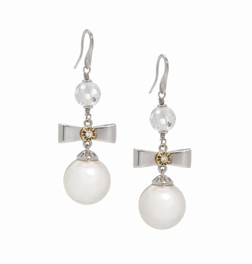 Henri Bendel Pearl Bow Drop Earrings