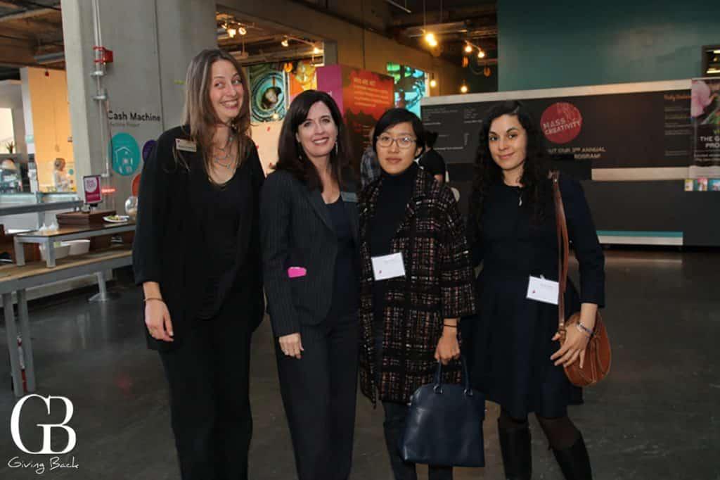Kerri Fox with exhibition artists