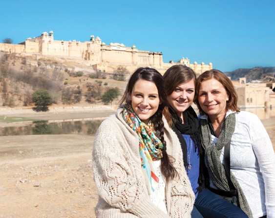 Lauren, Elise and Stefanie Zable at Amber Palace in India