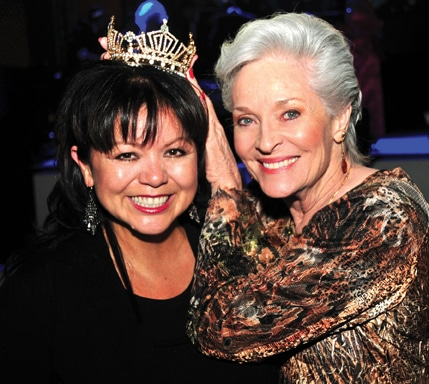 Lidia with actress Lee Meriwether and Lee's  Miss America crown