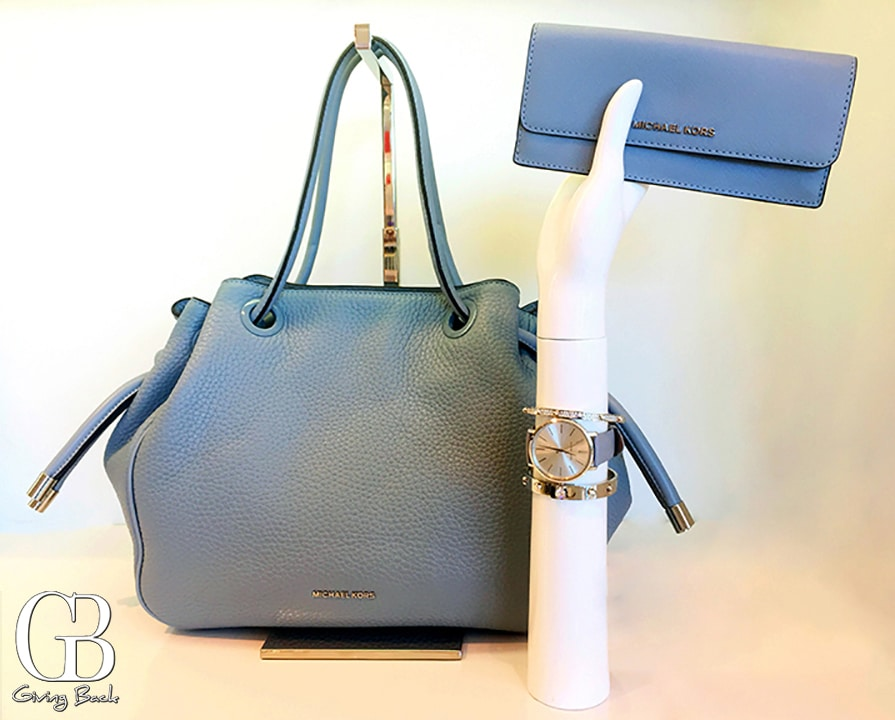 Micheal Kors Dalia Dusty Blue Leather Tote and Wallet