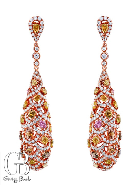 Multi color Diamond Large Teardrop Earrings
