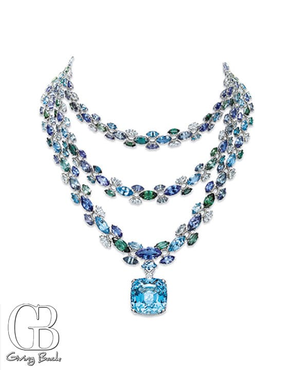 Necklace with marquise tanzanites  green tourmalines  aquamarines and marquise and round diamonds