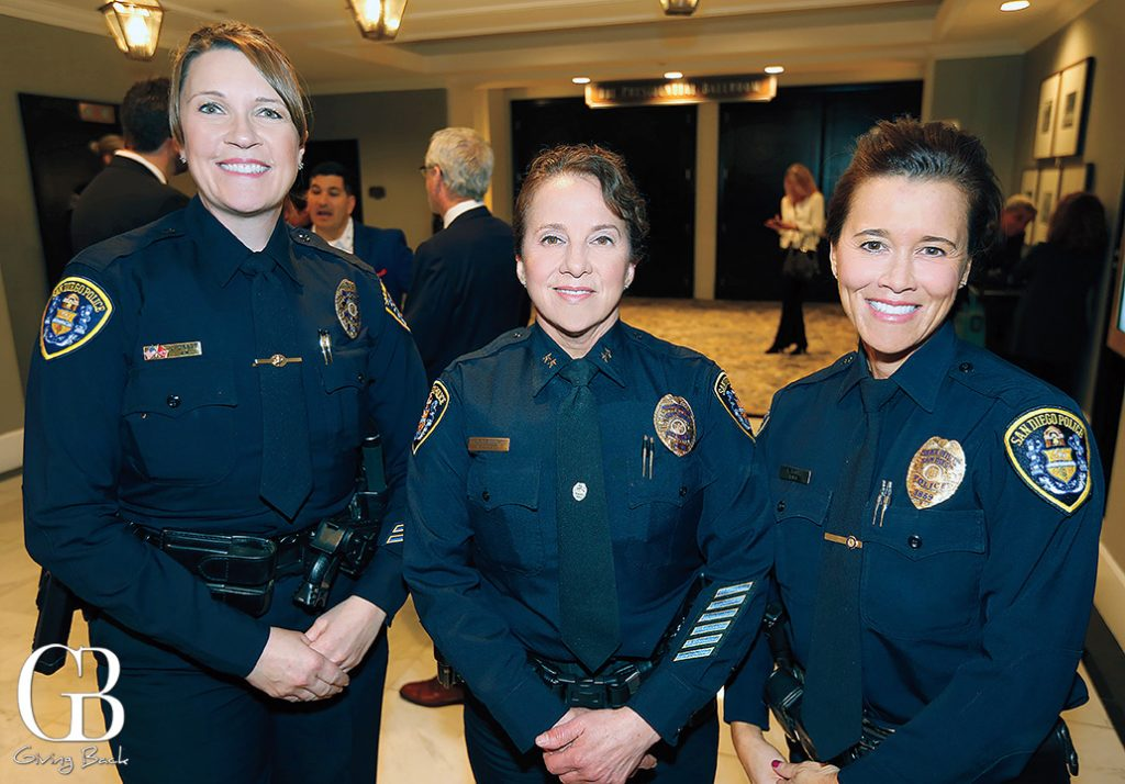 Officer Julie Dragt  Assistant Chief Sandy Alberktsen and Officer Sophia Suarez