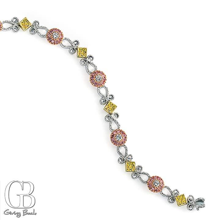 Pink   Yellow Diamond Filigree Bracelet