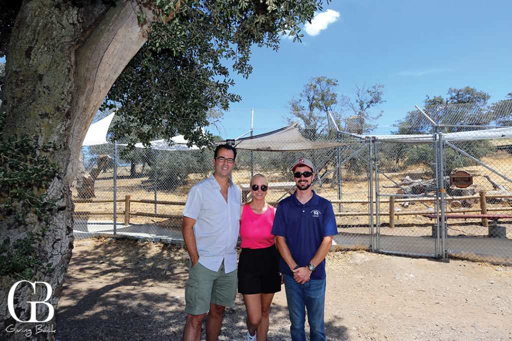 Publishers Esteban and Danitza with California Wolf Center Facility Manager and wolf expert Caleb