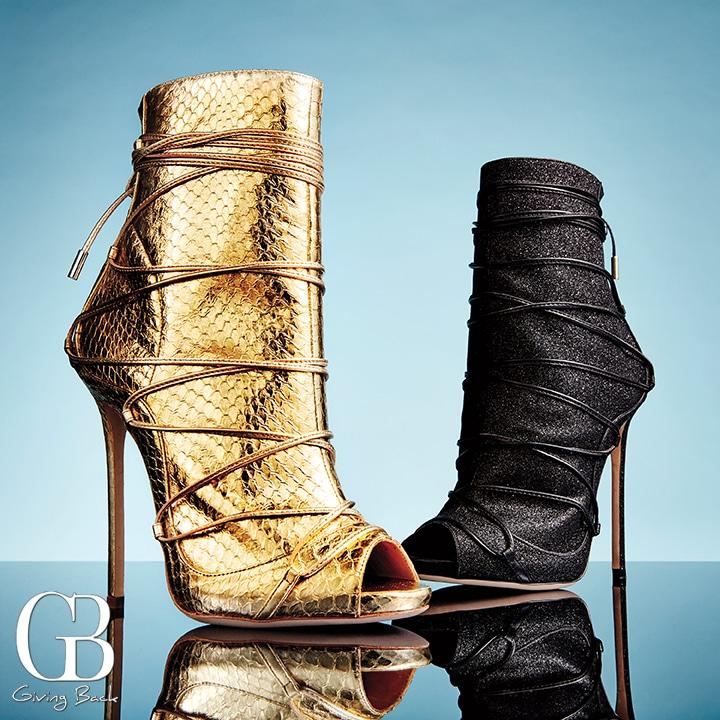 Riri Sandal in gold and metallic black leather