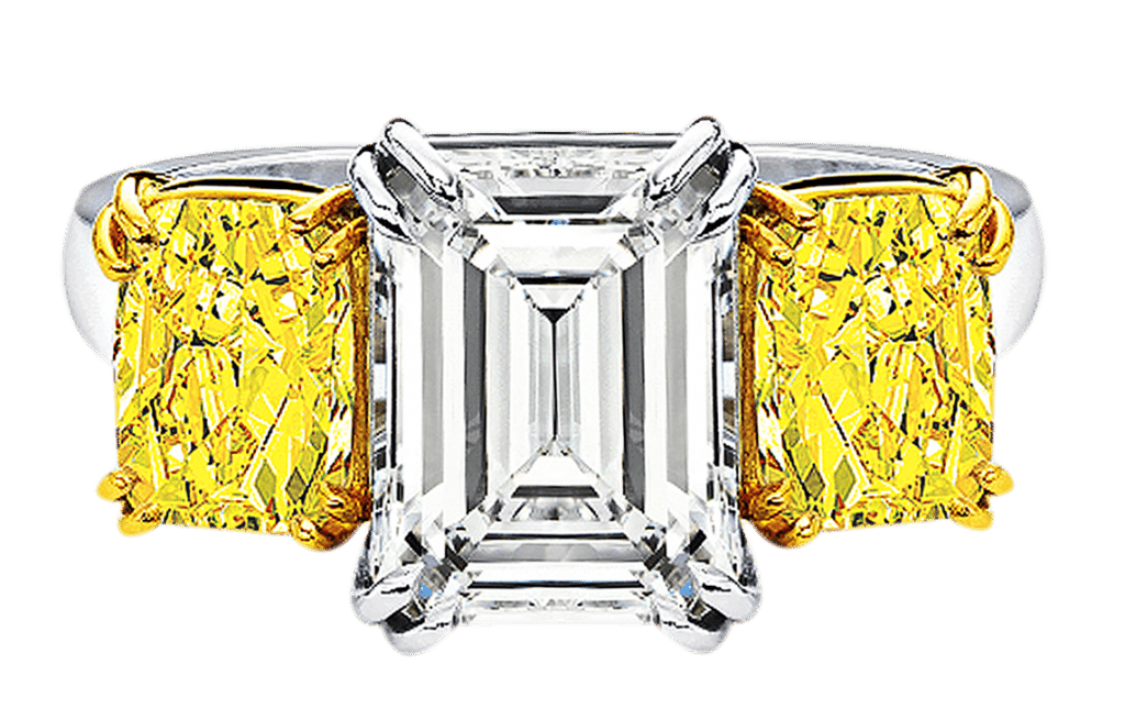 Riviera ct Emerald Cut Diamond with Fancy Vivid Yellows .png