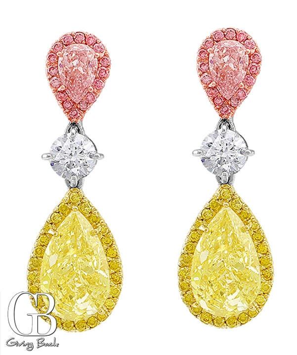Riviera Pear Fancy Light Pink   Fancy Yellow Earrings