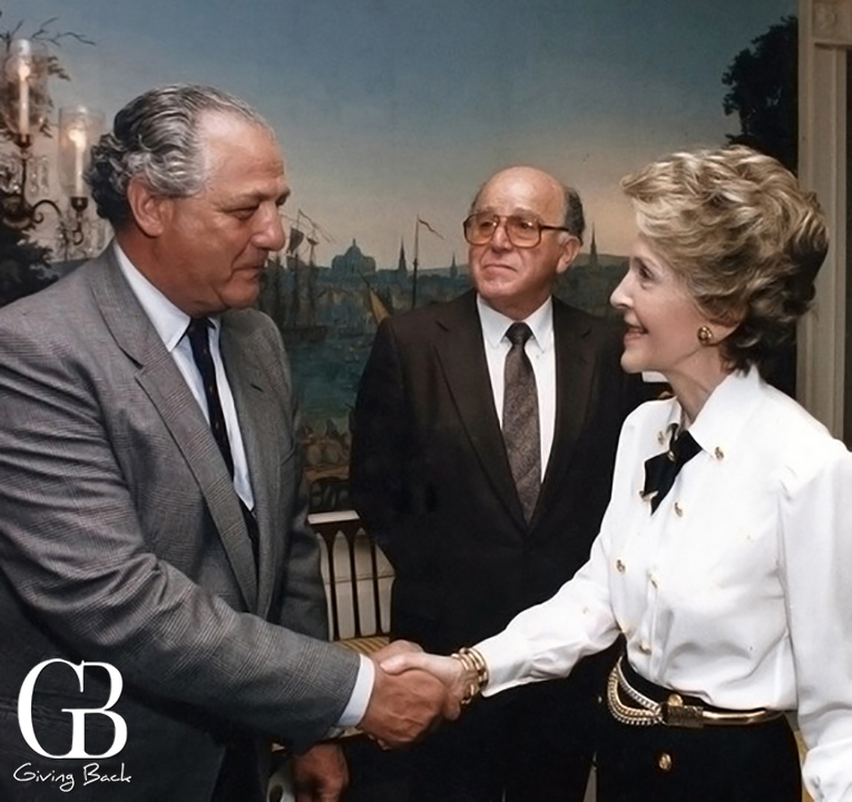 Salah Hassanein with Nancy Reagan
