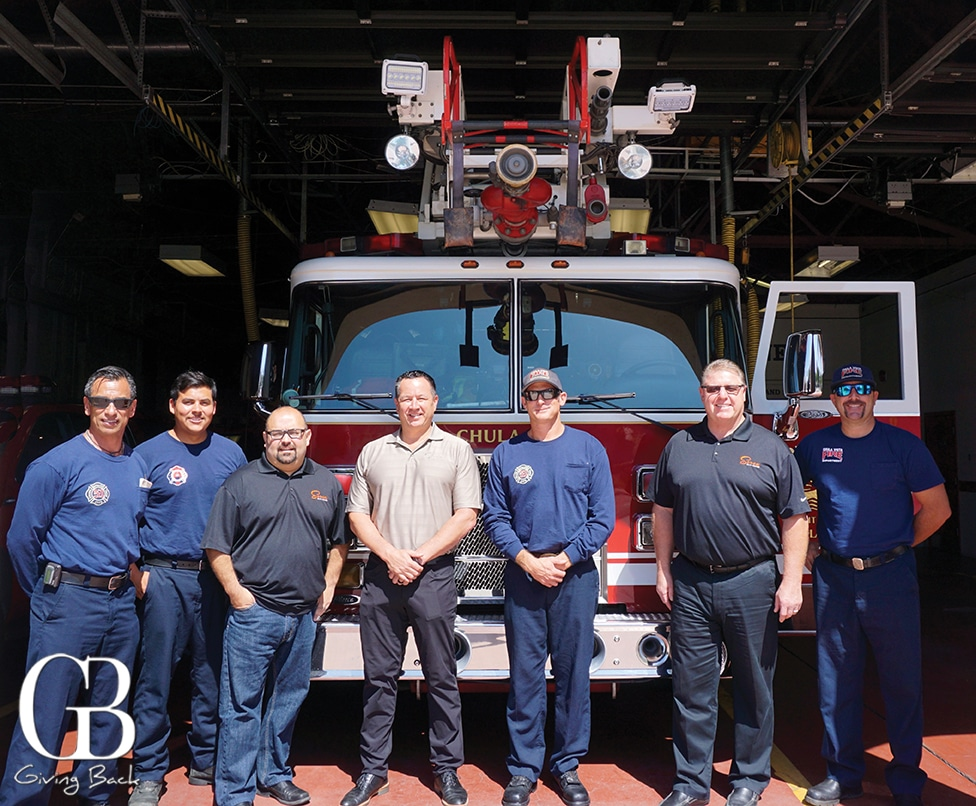 Seven Mile Team Members visiting the Fire department to provide first responders with lunch on September