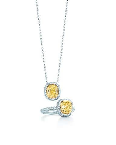 Tiffany Bezet cushion shaped yellow diamond pendant and ring