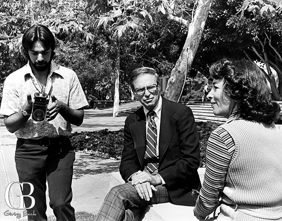 Tom Karlo  left  with camera  with Gloria Penner  filming an interview for KPBS Mid s