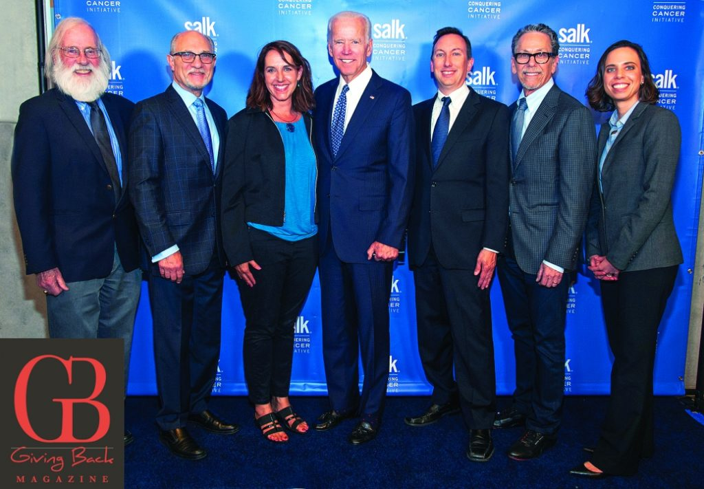 Vice President Joe Biden  center  joins  from left  Salk faculty Tony Hunter  Geoffrey Wahl  Susan Kaech  Reuben Shaw  Ronald Evans and Diana Hargreaves at the Conquering Cancer Initiative launch event