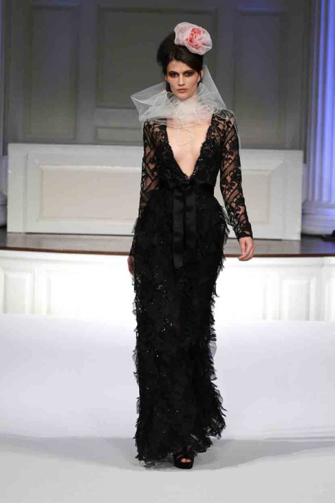 black tulip lace long sleeve v neck embroidered gown with satin ribbon self tie