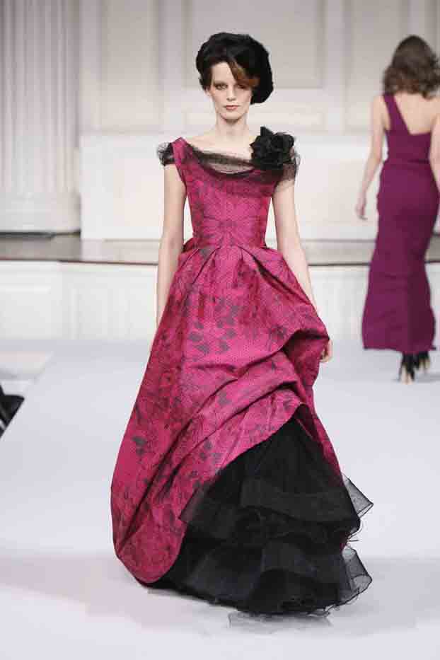 magenta dotted silk chin taffeta gown with black point desprit and flower neckline with black petticoat