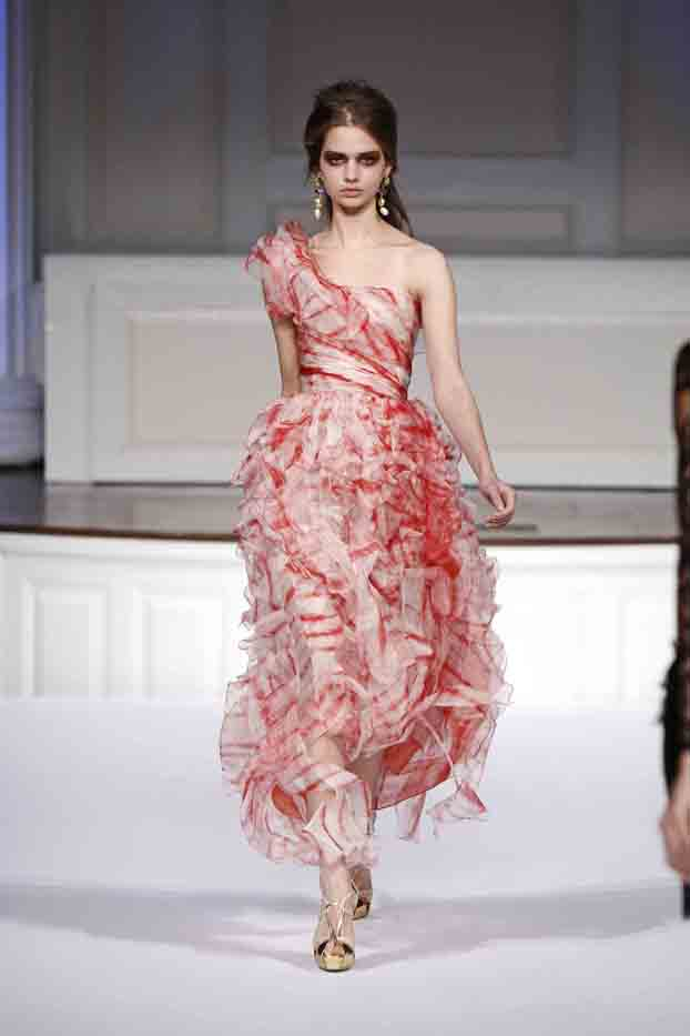 ruby tie dyed organza one shoulder gown with ruffle skirt and asymmetrical hemline